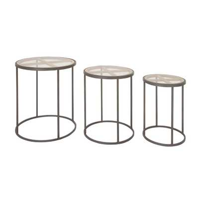 Modern Iron and Glass 3-Piece Nesting Cylindrical Accent Table, Blacks - Home Depot