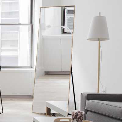 SUZHOU 703 NETWORK TECHN NeuType Gold Aluminum Alloy Thin Frame Full Length Floor Mirror Standing Hanging or Leaning Against Wall - Home Depot