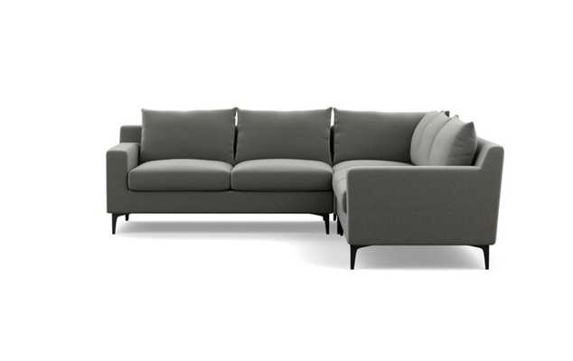 Sloan Corner Sectional with Heather Fabric and Matte Black legs - Interior Define