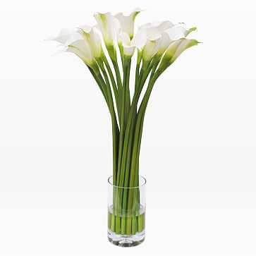 Faux Calla Lily in Cylinder Vase, White - West Elm