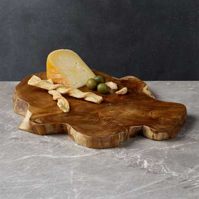 Teak Root Wedge Reclaimed Wood Serving Board - Crate and Barrel
