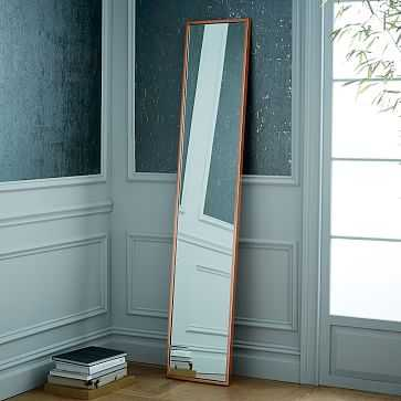 Metal Framed Narrow Floor Mirror, Rose Gold - West Elm