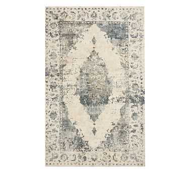 Aleah Printed Rug, 8x10', Blue Multi - Pottery Barn