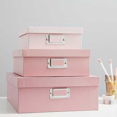 Paper Stacking Storage Boxes, Set of 3, Warm - Pottery Barn Teen