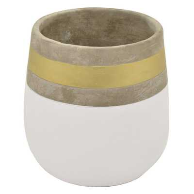 THREE HANDS 9 in. White and Gold Flower Pot - Home Depot