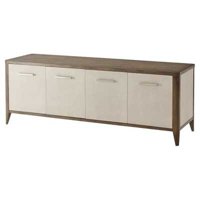 Theodore Alexander Modern Creswick Brown Wood Leather Wrapped Media Console - Kathy Kuo Home