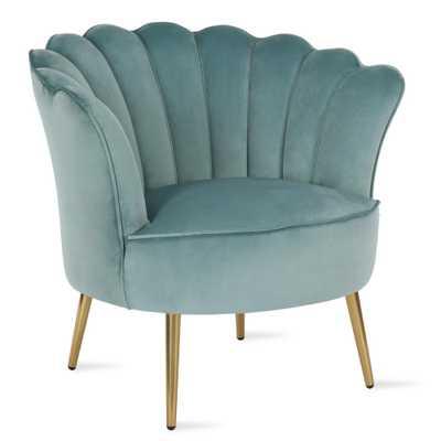 Novogratz Presley Modern Glam Seashell Accent Chair, Teal, Blue - Home Depot