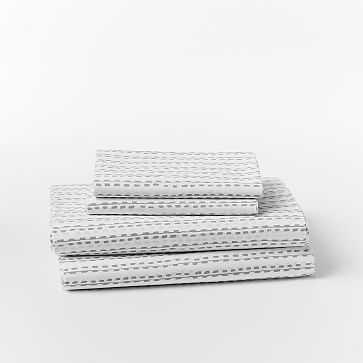 Organic Hand Drawn Stripe Sheet Set, Twin/Twin XL, Feather Gray - West Elm