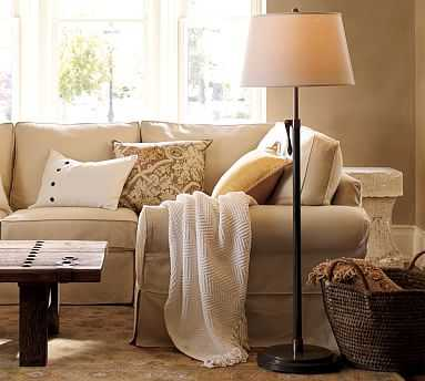 Sutter Floor Lamp & Tapered Drum Linen Shade, Ivory, Large - Pottery Barn