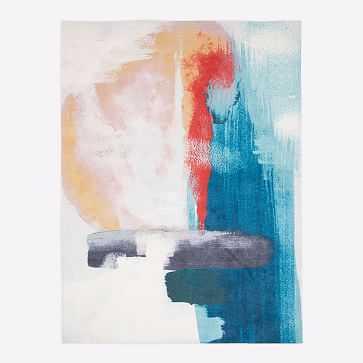 Brushed Palette Rug, Blue Teal, 8'x10' - West Elm