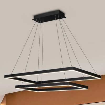 VONN Lighting Atria Duo Rectangular 92-Watt Black Integrated LED Chandelier - Home Depot