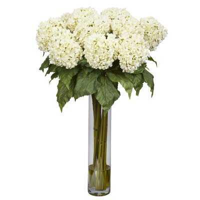 Hydrangea Silk Floral Arrangement in Vase - Wayfair
