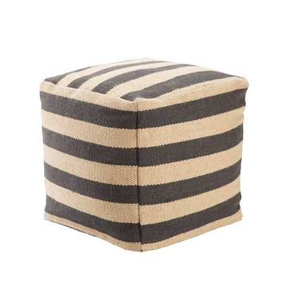 Metal Dark Gray/ Beige Stripe Square Pouf - Collective Weavers