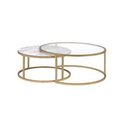 Acme Furniture Shanish Faux Marble and Gold 2 Piece Pack Coffee Table Set - Home Depot
