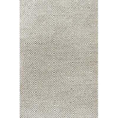 Nikia Geometric Handmade Tufted Ivory Area Rug - AllModern