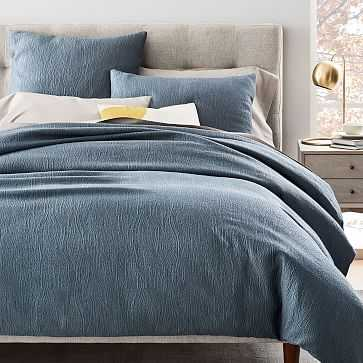 TENCEL Cotton Matelasse Duvet Cover, Full/Queen, Stormy Blue - West Elm