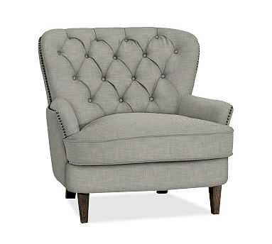 Cardiff Upholstered Armchair, Polyester Wrapped Cushions, Premium Performance Basketweave Light Gray - Pottery Barn