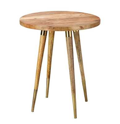 Derek Modern Classic Round Brown Wood Side Table - Small - Kathy Kuo Home