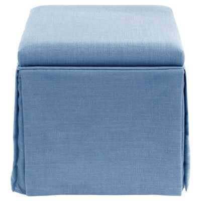 Skirted Storage Ottoman in Linen Denim - Skyline Furniture - Target