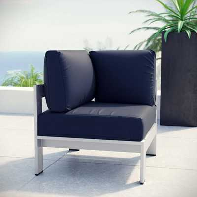 MODWAY Shore Patio Aluminum Corner Outdoor Sectional Chair in Silver with Navy Cushions - Home Depot