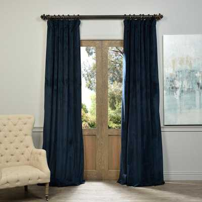 Exclusive Fabrics & Furnishings Blackout Signature Midnight Blue Blackout Velvet Curtain - 50 in. W x 108 in. L (1 Panel) - Home Depot