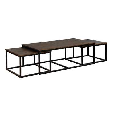 Arcadia Antiqued Mocha 54 in. Acacia Wood Coffee Table with Nesting Tables - Home Depot