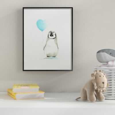 'Baby Penguin with Blue Balloon' Wall Art - Wayfair