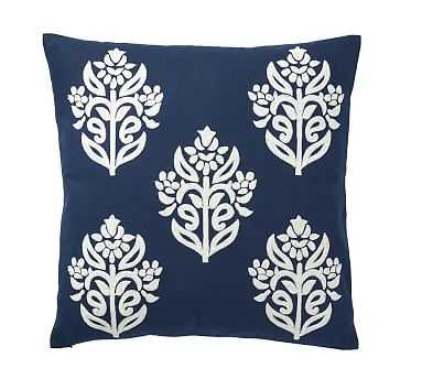 """Kyla Embroidered Pillow Cover, 18"""", Navy/Ivory - Pottery Barn"""