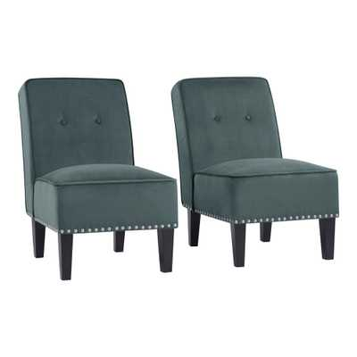 Handy Living Brodee Smoky Blue Velvet Upholstered Armless Button Tufted Accent Chairs (Set of 2) - Home Depot