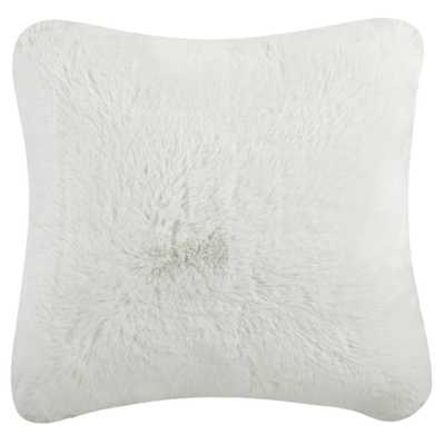 Faux Chinchilla Plush Fur Pillow, Snow White - Home Depot