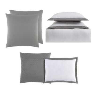 Everyday Hotel Border Gray 7 Piece Full / Queen Duvet Set, White And Grey Duvet - Home Depot