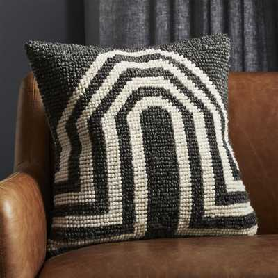 """20"""" Arch Grey Pillow with Feather-Down Insert"" - CB2"