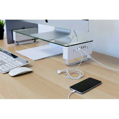Bissonnette Glass Monitor Stand With 5 Usb Ports - Wayfair