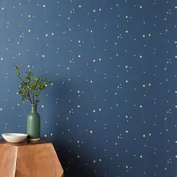Chasing Paper Constellation Map Wallpaper, Navy - West Elm