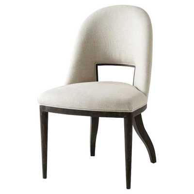 Theodore Alexander Modern Classic Sommer Black Wood Scoop Back Dining Chair - Kathy Kuo Home