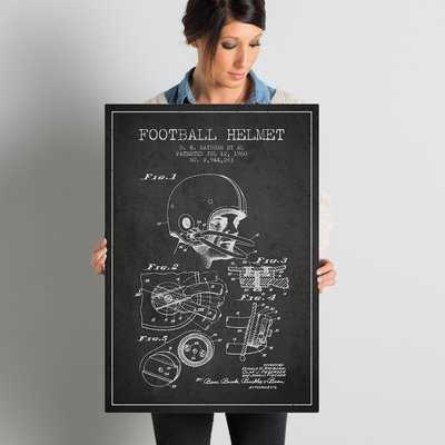 'Football Helmet Charcoal Patent Blueprint' Vintage Advertisement on Wrapped Canvas - Wayfair