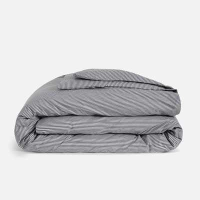 Luxe Duvet Cover - Full/Queen / Graphite and Steel Oxford Stripe - Brooklinen