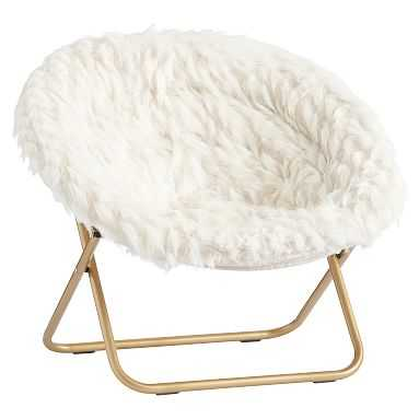 Hang-A-Round Chair, Winter Fox Faux-Fur w/ Gold Base - Pottery Barn Teen