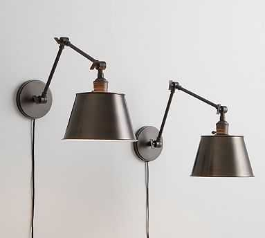PB Classic Tapered Metal Glass Articulating Sconce, Bronze + Bronze Sconce Kit, Set of 2 - Pottery Barn