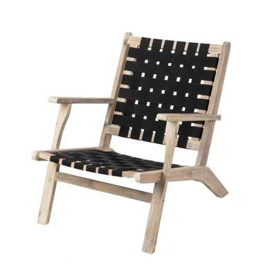 Patio Sense Vega Driftwood Stain Wood Outdoor Lounge Chair in Dark Nylon Weave - Home Depot