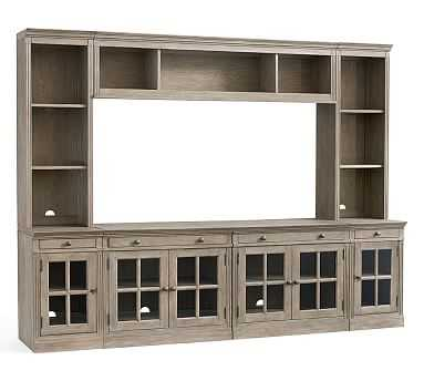 "Livingston 7-Piece Entertainment Center With Glass Cabinet, Gray Wash, 105"" - Pottery Barn"