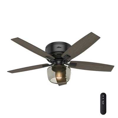 Hunter Bennett 52 in. LED Low Profile Matte Black Indoor Ceiling Fan With Globe Light Kit and Handheld Remote Control - Home Depot