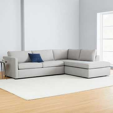 """Harris Sectional Set 09: Left Arm 65"""" Sofa, Right Arm Terminal Chaise, Poly, Heathered Crosshatch, Feather Gray, - West Elm"""