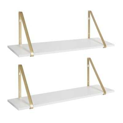 Mcmartin Wooden 2 Piece Bracket Shelf Set (Set of 2) - Wayfair