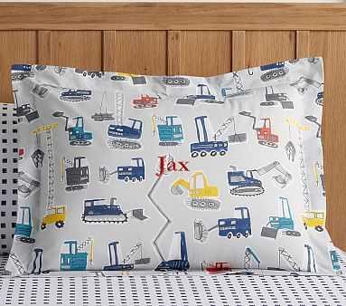 Jax Construction Duvet, Standard Sham, Grey Multi - Pottery Barn Kids