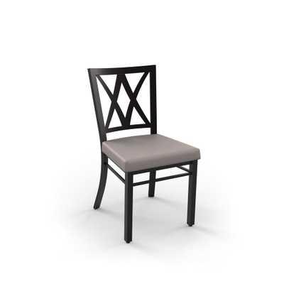 Amisco Industustries Washington Grey Dining Chair, Metal: Textured Dark Brown/Covering: Warm Grey Polyurethane - Home Depot