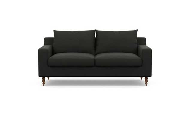 Sloan Sofa with Black Storm Fabric and Oiled Walnut legs - Interior Define