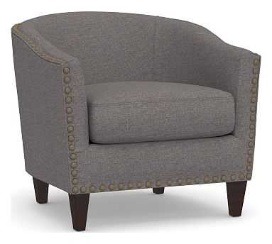Harlow Upholstered Armchair with Bronze Nailheads, Polyester Wrapped Cushions, Brushed Crossweave Charcoal - Pottery Barn