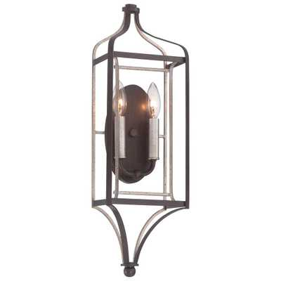 Minka Lavery Astrapia 2-Light Dark Rubbed Sienna with Aged Silver Sconce - Home Depot