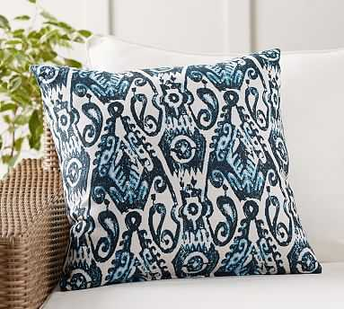 "Sunbrella(R) Delphi Ikat Indoor/Outdoor Pillow, 22"", Blue Combo - Pottery Barn"